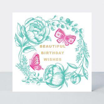 LUMO2 butterflies flowers neon birthday card