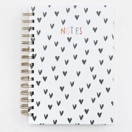 Scattered Heart Print Spiral Notebook Caroline Gardner asn100