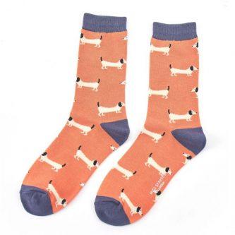 ladies socks sausage dogs sks137 orange
