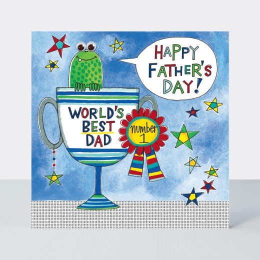 xFDEYE3 worlds best dad trophy card