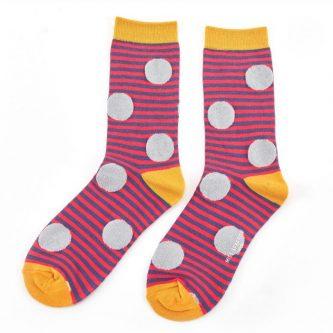 ladies socks sparkle spots stripes sks152 red