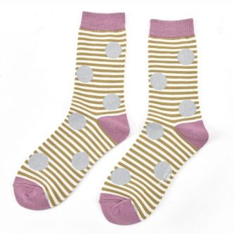 ladies socks sparkle spots stripes sks152 olive