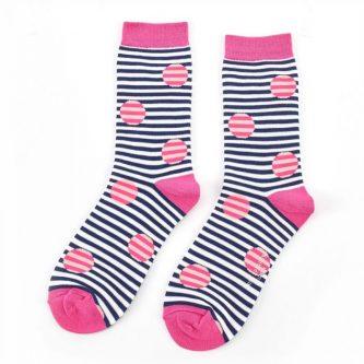 ladies socks spots stripes sks153 navy