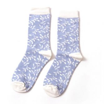 ladies socks trailing leaves sks176 powder blue